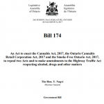Bill 174, Cannabis, Smoke-Free Ontario and Road Safety Statute Law Amendment Act, 2017